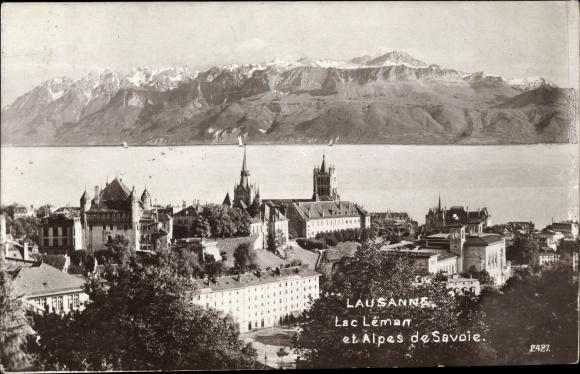 Ak Lausanne Kt. Waadt Schweiz, Lac Leman et Alpes de Savoie