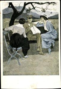 Künstler Ak Wennerberg, Bruno, Verwundeter Soldat mit zwei Damen