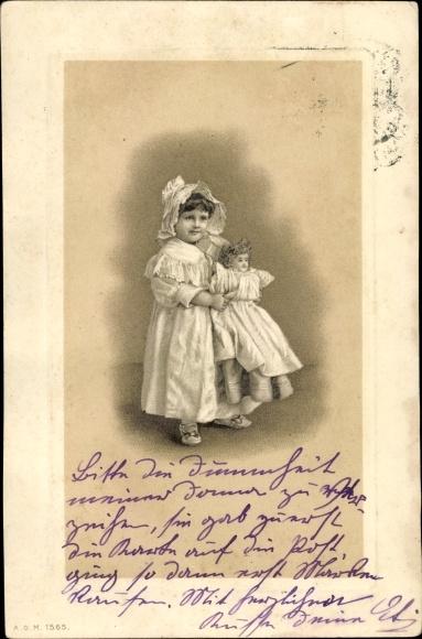Präge Passepartout Litho Mädchen mit Puppe