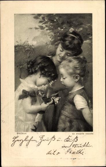 Künstler Ak Dvorak, La poupée cassée, Mädchen mit Puppe