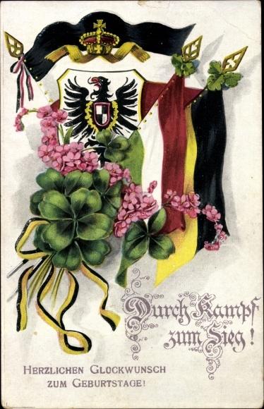 Ak Glückwunsch Geburtstag, Durch Kampf zum Sieg, Kleeblätter, Fahnen