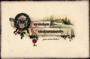 Präge Litho Glückwunsch Neujahr, Wappen, Kranz aus Eichenlaub