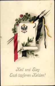 Ak Heil und Sieg euch tapferen Helden, Fahnen Deutschland und Öesterreich, Klee