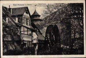 Ak Bad Münster am Stein Ebernburg Bad Kreuznach in Rheinland Pfalz, Bäderhaus mit Salinenrad