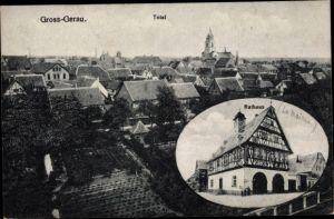 Ak groß Groß Gerau in Hessen, Totalansicht, Rathaus