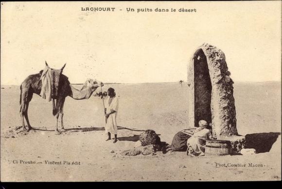 Ak Laghouat Algerien, Un Puits dans le Desert, Brunnen, Kamel