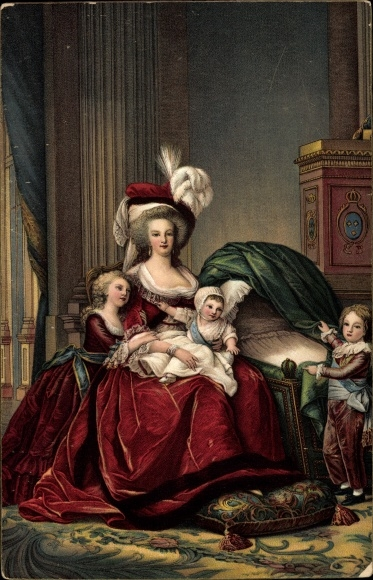 Künstler Ak Marie Antoinette et ses Enfants, Ehefrau von König Ludwig XVI von Frankreich, Stengel