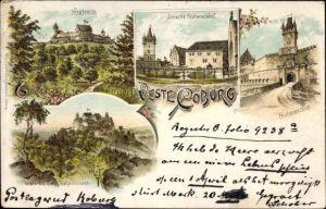 Litho Coburg in Oberfranken, Ansichten der Veste Coburg