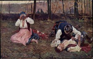 Künstler Ak Wodzinowski, W., Zwei Männer kämpfen miteinander, Frau auf dem Boden sitzend