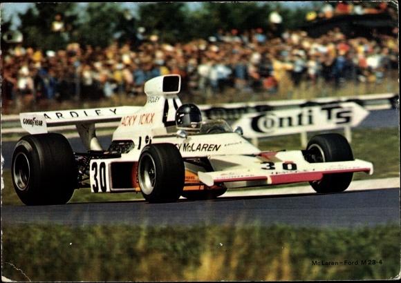 Ak Rennauto von McLaren, Ford M 23 4, Nr. 30, Fahrer Jacky Ickx