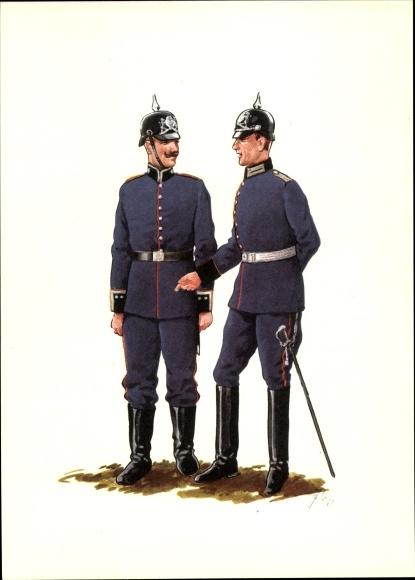 Künstler Ak Bayern um 1900, Pionier Regiment, Offizier und Sergeant, Pickelhauben
