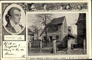Passepartout Ak Gohlis Leipzig in Sachsen, Portrait Schiller's, Wohnhaus Friedrich von Schiller's