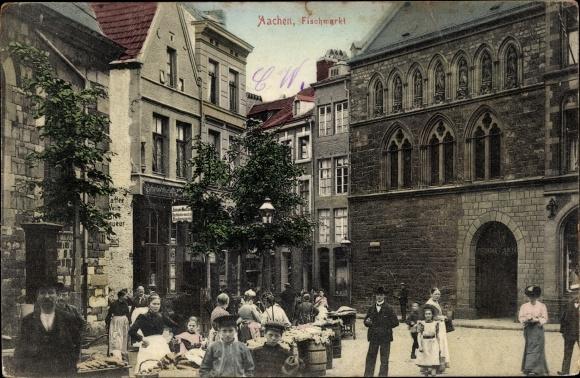 Ak Aachen in Nordrhein Westfalen, Partie am Fischermarkt