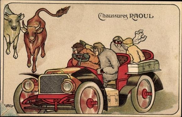 Künstler Ak Caputi, Chaussures Raoul, Passagiere in einem offenen Automobil, Rinder