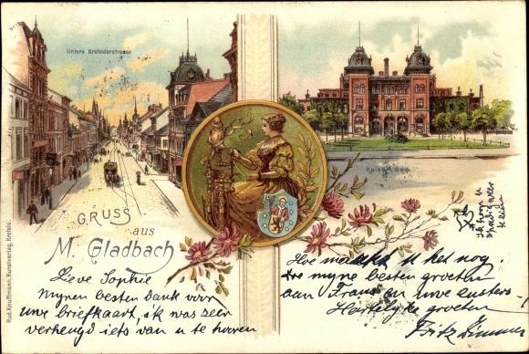 Litho Mönchengladbach in Nordrhein Westfalen, Krefelder Straße, Kaiserbad, Spinnerin mit Spindel
