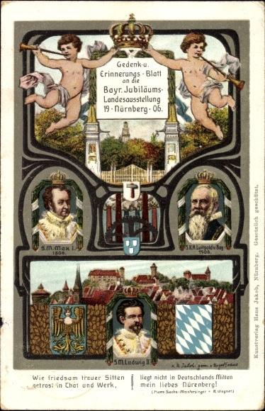 Künstler Ak Nürnberg in Bayern, Gedenk- u. Erinnerungsblatt an die Bayr. Jub. Landesausstellung 1906