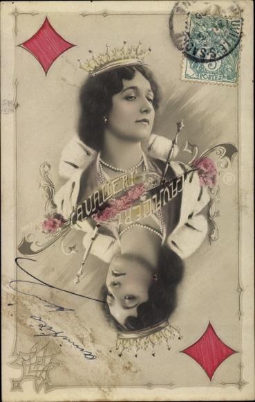 Ak Sängerin Cavalieri, Karo Königin, Spielkarte