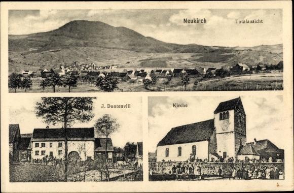 Ak Neuve Eglise Neukirch Elsass Bas Rhin, J. Dontenvill, Kirche, Totalansicht