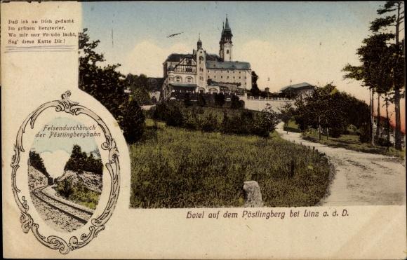 Ak Bei Linz in Oberösterreich, Hotel auf dem Pöstlingberg, Felsendurchbruch der Pöstlingbergbahn