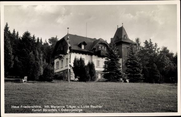 Ak Bärenfels Altenberg im Erzgebirge, Haus Friedenshöhe, Außenansicht
