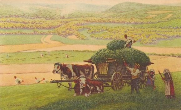 Künstler Ak Weczerzick, A., Landwirte bei der Heuernte, Ochsenkarren