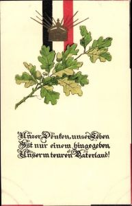 Präge Litho Krone, Eichenlaub, Unser Denken, unser Leben unserm teuren Vaterland
