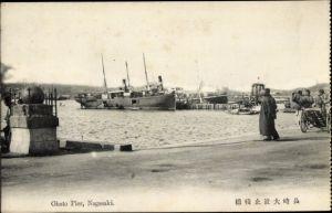 Ak Nagasaki Präf. Nagasaki Japan, Ohato Pier, Dampfer