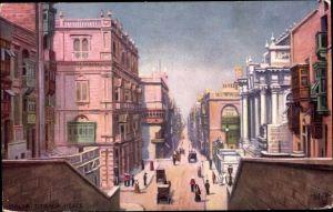 Künstler Ak Malta, Strada Reale, Straßenpartie, Tuck 7091