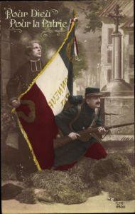Ak Pour Dieu, pour la Patrie, Französischer Soldat, Fahne, Geistlicher