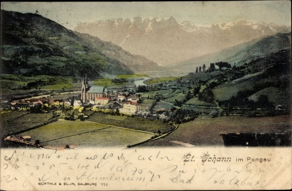 Ak St. Johann im Pongau Salzburg, Blick auf den Ort, Kirche, Gebirge
