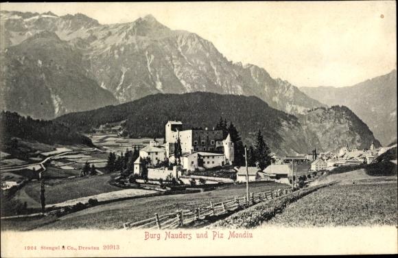 Ak Nauders in Tirol, Burg und Piz Mondiu, Stengel 20913
