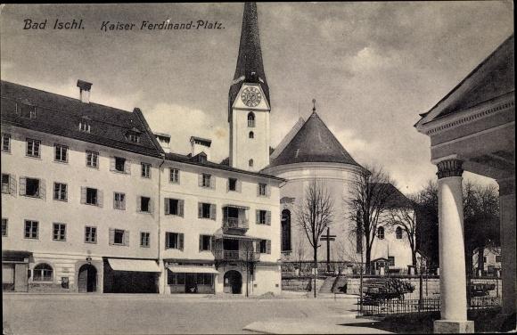 Ak Bad Ischl in Oberösterreich, Kaiser Ferdinand Platz, Kirche