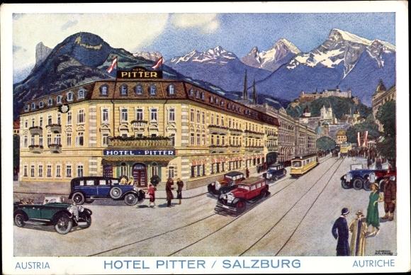 Künstler Ak Salzburg in Österreich, Hotel Pitter, Autos, Straßenbahn, Alpenpanorama