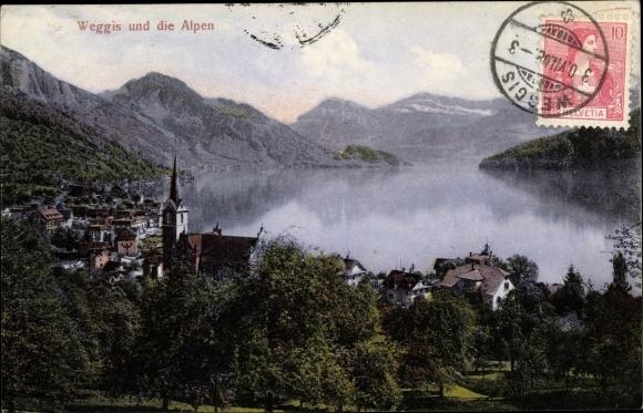 Ak Weggis Kt. Luzern Schweiz, Ortschaft und die Alpen