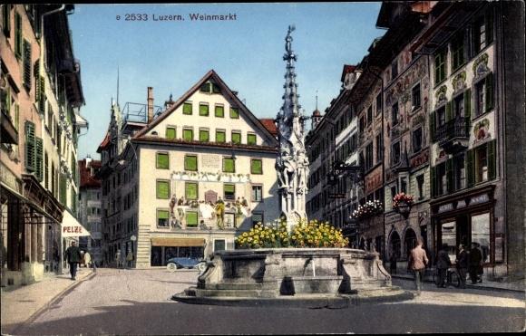 Ak Luzern Stadt Schweiz, Weinmarkt