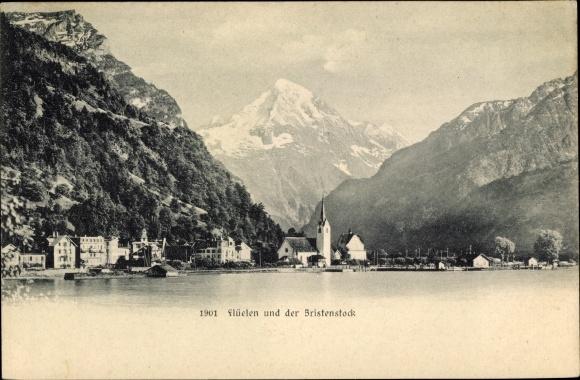 Ak Flüelen Kt. Uri Schweiz, Ortschaft, Bristenstock