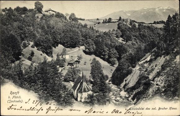 Ak Flüeli Ranft Sachseln Kt. Obwalden Schweiz, Einsiedelei des sel. Bruder Klaus