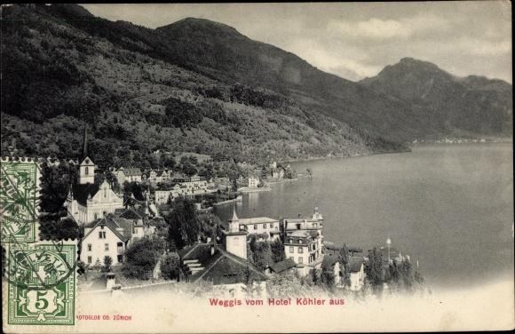Ak Weggis Kt. Luzern Schweiz, Blick vom Hotel Köhler aus
