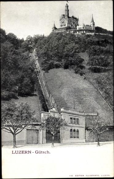 Ak Luzern Stadt Schweiz, Gütschbahn, Zahnradbahn