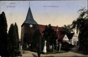 Ak Hamburg Bergedorf Vierlanden, Kirche, Friedhof