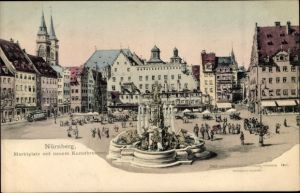 Künstler Ak Nürnberg in Mittelfranken Bayern, Marktplatz, Kunstbrunnen