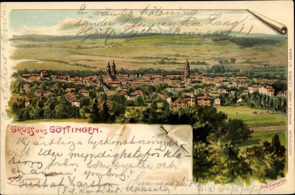 Künstler Litho Spindler, Erwin, Göttingen in Niedersachsen, Panorama der Stadt