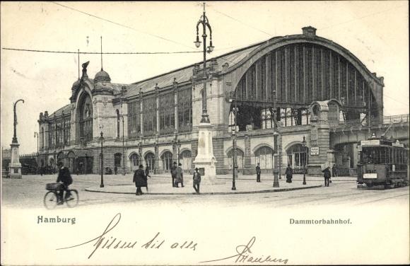 Ak Hamburg Rotherbaum, Partie am Dammtorbahnhof, Straßenbahn, Fahrradfahrer