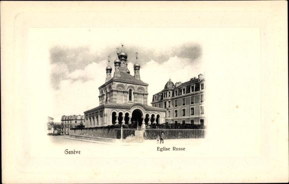 Präge Passepartout Ak Genève Genf Stadt, Eglise Russe, Blick auf die Kirche