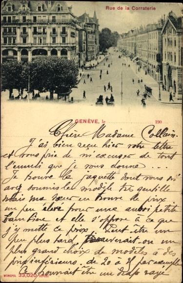 Ak Genève Genf Stadt, Rue de la Corraterie, Straßenpartie in der Stadt