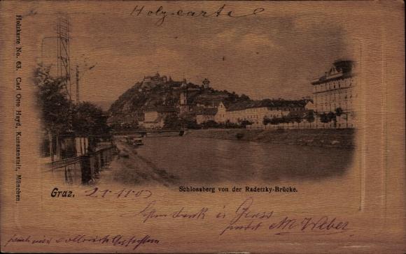 Präge Ak Graz Steiermark, Schlossberg von der Radetzky Brücke