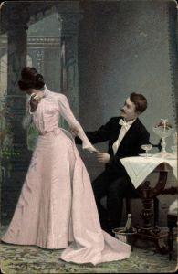 Ak Mann hält weinende Frau am Arm fest, Sektflasche im Kühler