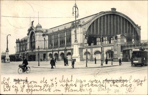 Ak Hamburg Eimsbüttel Rotherbaum, Partie am Dammtorbahnhof, Straßenbahn 18