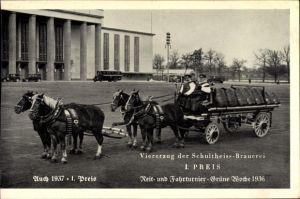 Ak Berlin Charlottenburg Westend, Viererzug der Schultheiss-Brauerei, Reit- und Fahrturniere