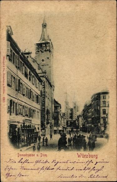 Relief Ak Würzburg am Main Unterfranken, Partie auf der Domstraße mit Dom